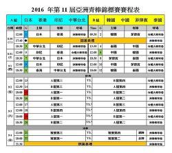 2016년 제11회 아시아청소년야구선수권 안내(중계주소)