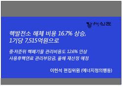 핵발전소 해체 비용 16.7% 상승, 1기당 7,515억원으로