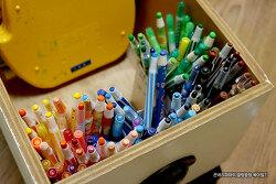 조그만 포장박스를 재활용한 아이 미술용품 정리하기~!