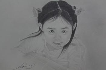 연필초상화 - 딸아이 그리기