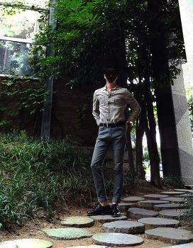 남자 빈티지 패션 : 캐주얼 코디 [H&M] 남자 워싱 셔츠 코디 with 남자 빈티지 청바지 / 2016. 10. 03