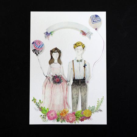 웨딩 엽서와 어린 공주 엽서