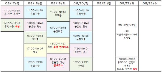 [08.17-08.23 상영시간표] 공범자들 / 여자들 / 불온한 당신 / 재꽃