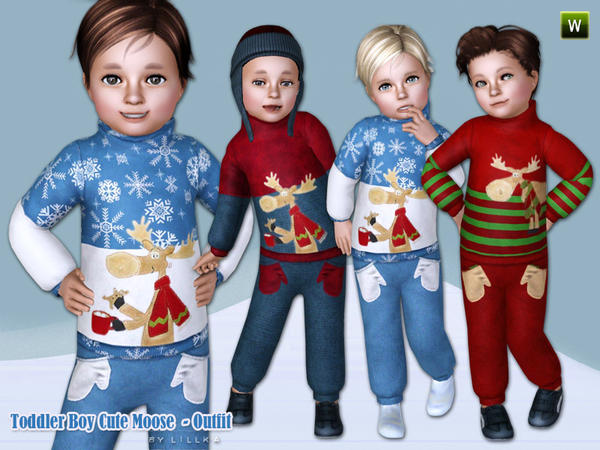 Sims3 Of Objnoora Toddler Boy Cute Moose Outfit
