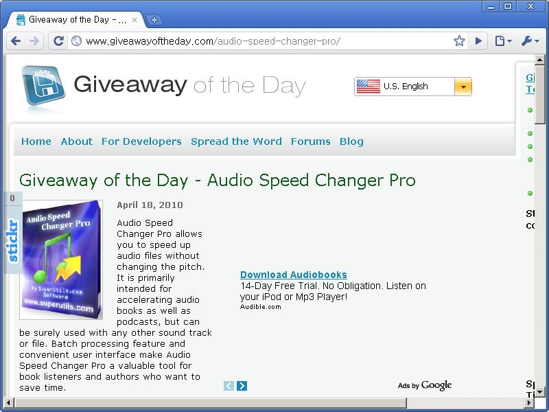 Giveaway of the Day 홈페이지 - 오늘은 Audio Speed Changer Pro 프로그램이 공짜!