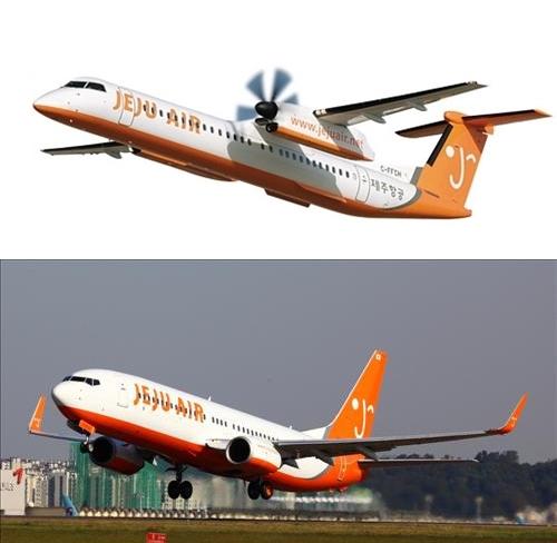 조만간 퇴출될 Q400 (위) 기종과 제주항공 주력 항공기종이 될 B737(아래)