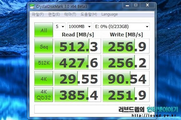 삼성 SSD 840 250GB 벤치마크, 윈도우7 & SSD 벤치마크 프로그램 크리스탈 디스크 마크