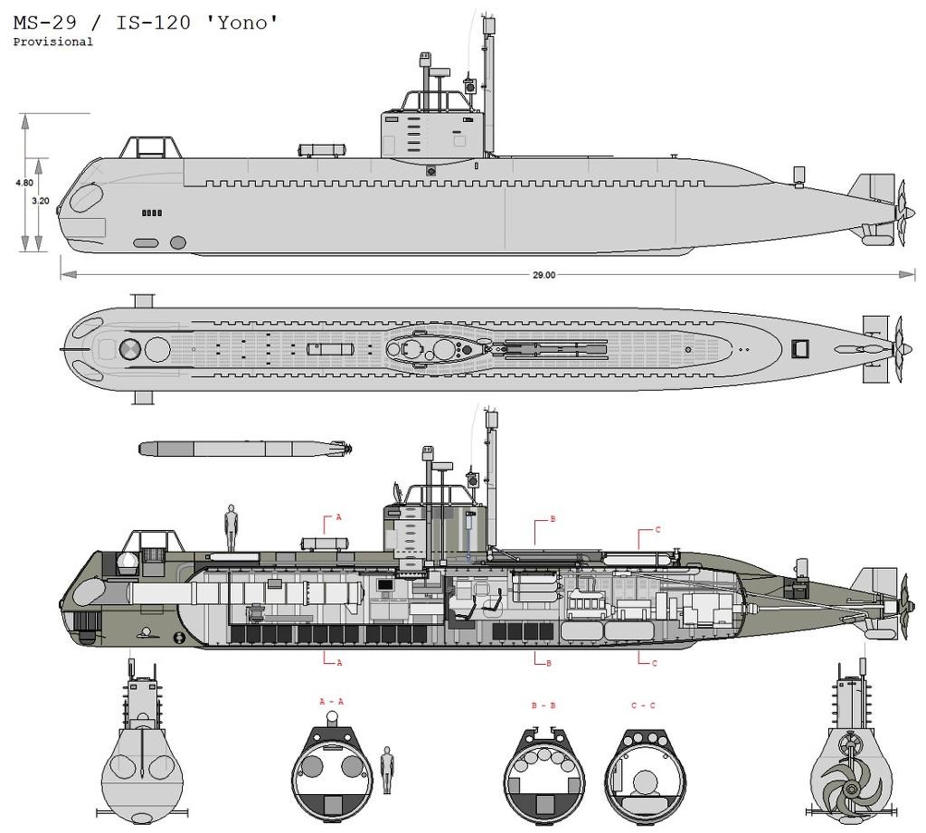 연어급잠수정 단면도-안치용