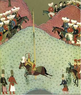 16세기 무라드 2 세가 외국대사앞에서 Qabak 시연장면