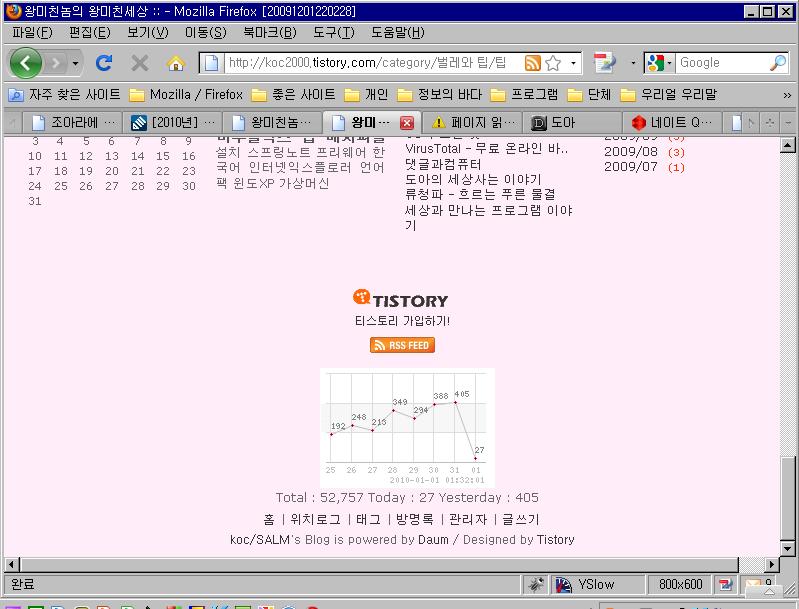 1일 방문객 400명 돌파! - 파이어폭스 부분만 잡은 화면.