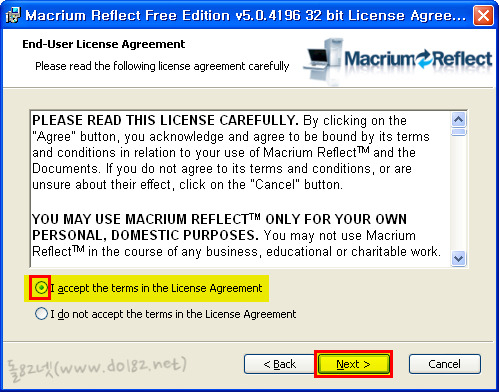 Macrium Reflect Free Edition 약관 동의