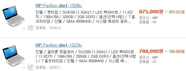 HP 파빌리온 dm1 가격