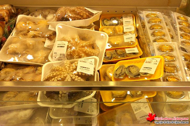 캐나다 토론토 한국 식품 마트 전복 문어 오징어
