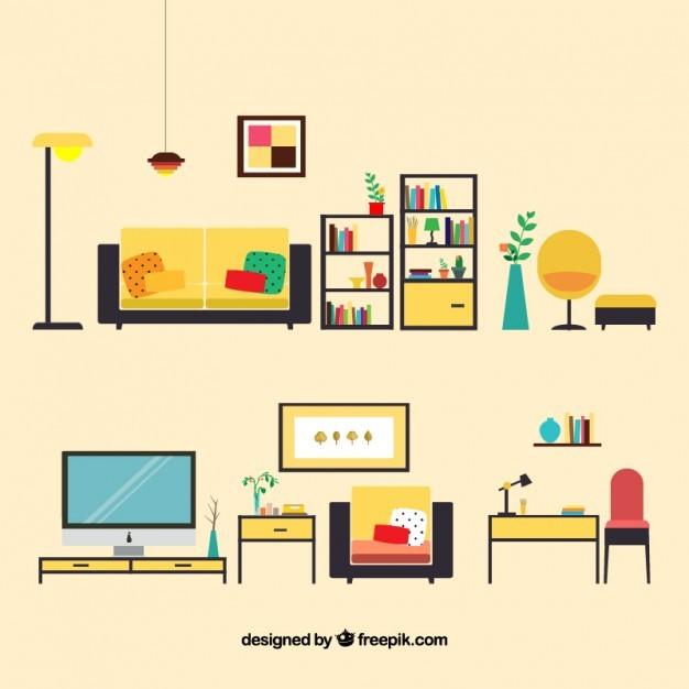 무료일러스트이미지 디자인소스 다운로드 :: 거실 가구 일러스트 ...