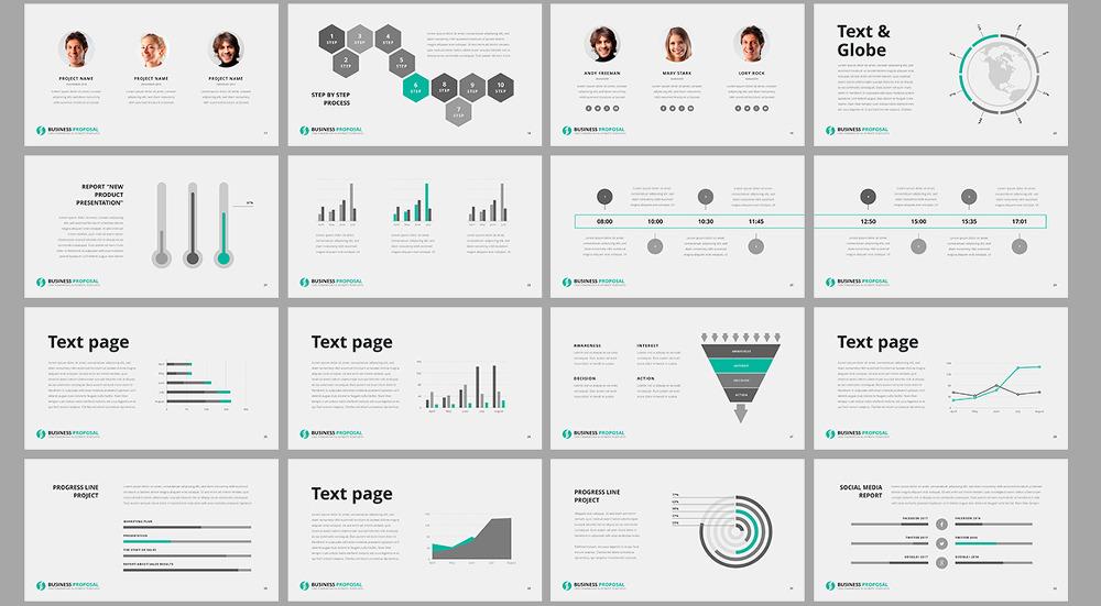 민트 톤의 깔끔한 사업계획서 PPT 템플릿 - Free Mint Color PowerPoint Template For Business Proposal