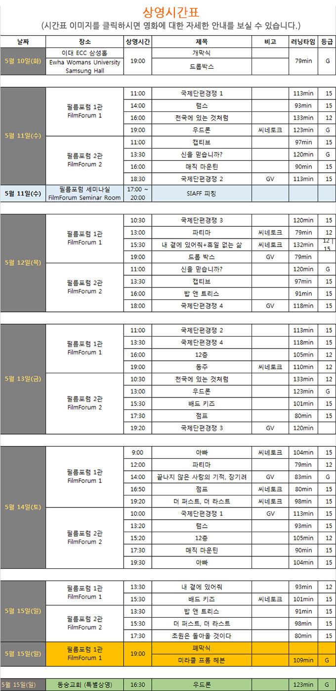 제13회 서울국제사랑영화제 시간표