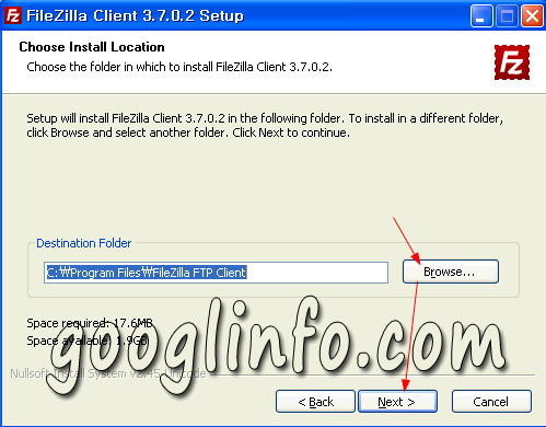 FileZilla 설치 방법, 설치 경로 지정