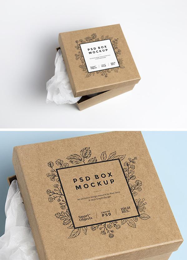 뚜껑이 분리되는 박스 목업 PSD - Free PSD Cardboard Box Mockup