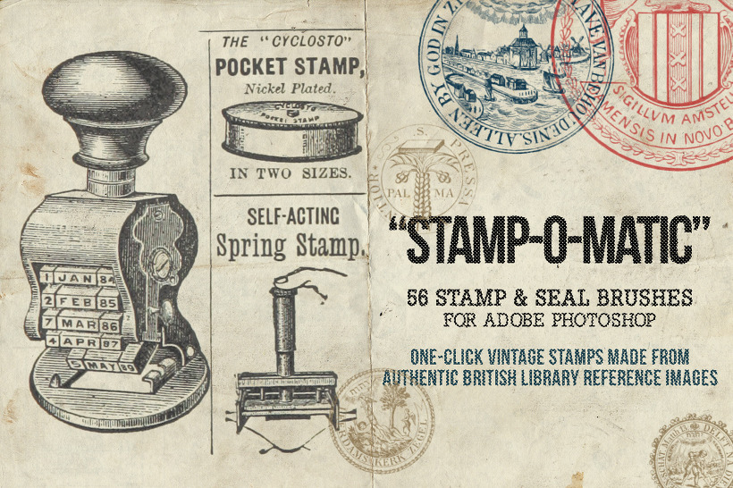 56 가지 빈티지 스탬프(Vintage Stamp) 포토샵 브러쉬 - 56 Free Vintage Stamp & Seal Photoshop Brushes