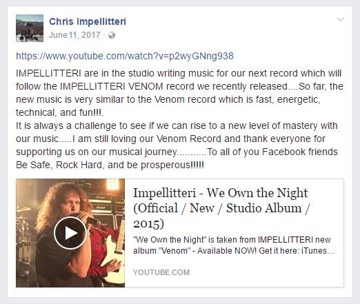 Chris Impellitteri Facebook Post