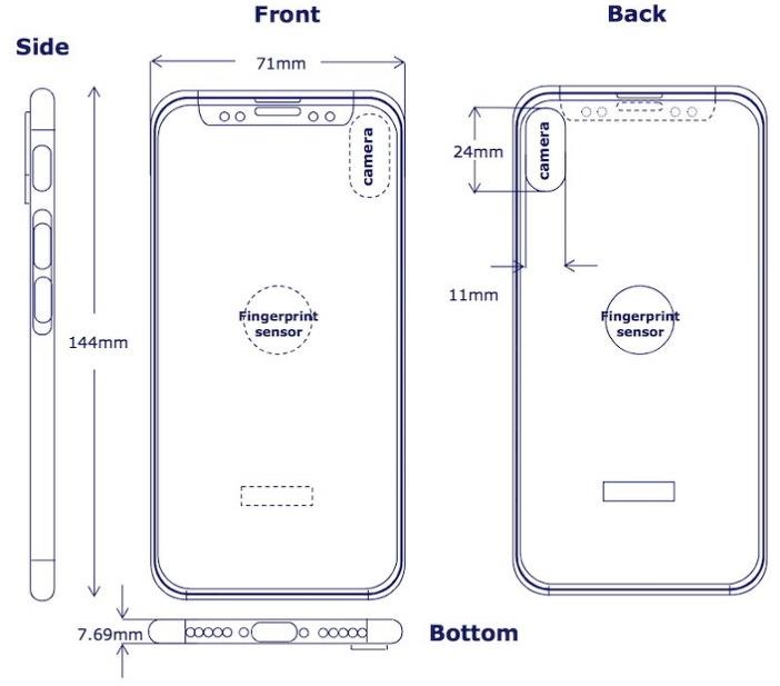 아이폰8 후면에 위치한 지문 인식 모듈