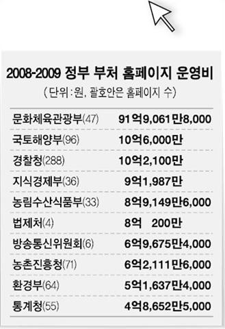 2008-2009 정부 부처 홈페이지 운영비