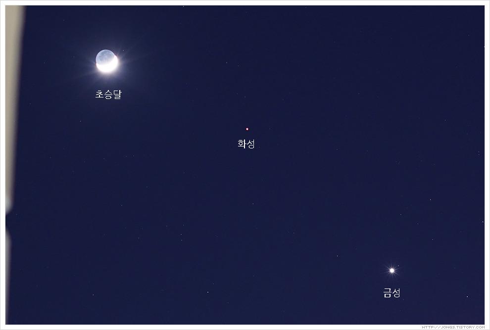 2017. 2. 1. 18:00~21:00 초승달, 화성, 금성 일직선에 서는 13년만의 우주쇼