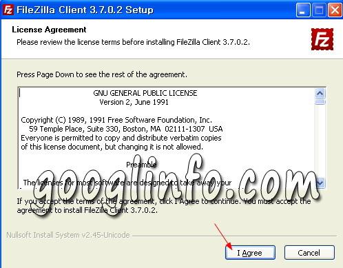 FileZilla 설치 방법, 라이센스 동의