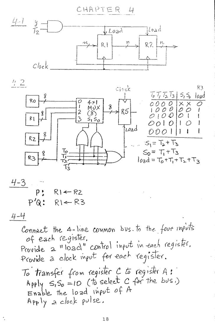 컴퓨터구조 연습문제, 모리스 마노 챕터4 18