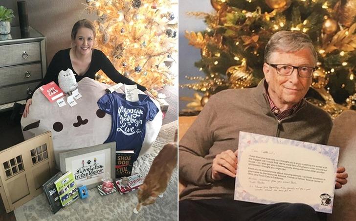 마이크로소프트 빌 게이츠에게 크리스마스 선물 받은 여자