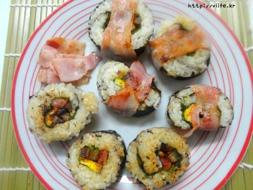 베이컨 덮개 김밥