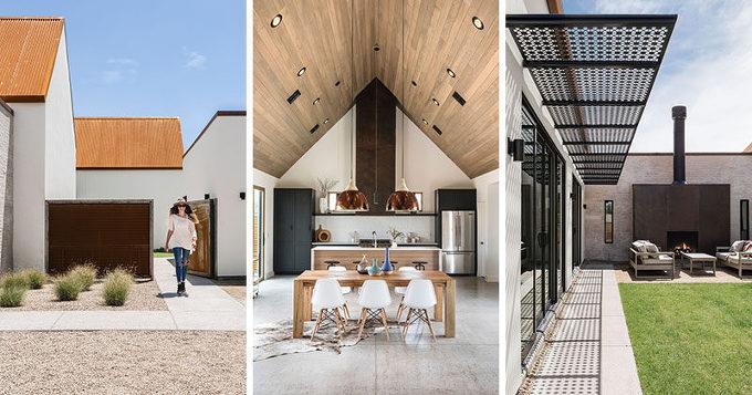 *박공지붕 House In Phoenix Is Covered By A Rusted Corrugated Roof